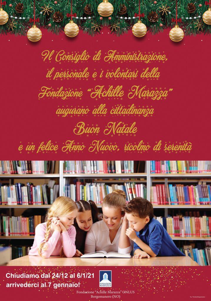 La Biblioteca Marazza sarà chiusa dal 24 dicembre al 6 gennaio. Buon Natale e felice anno nuovo!